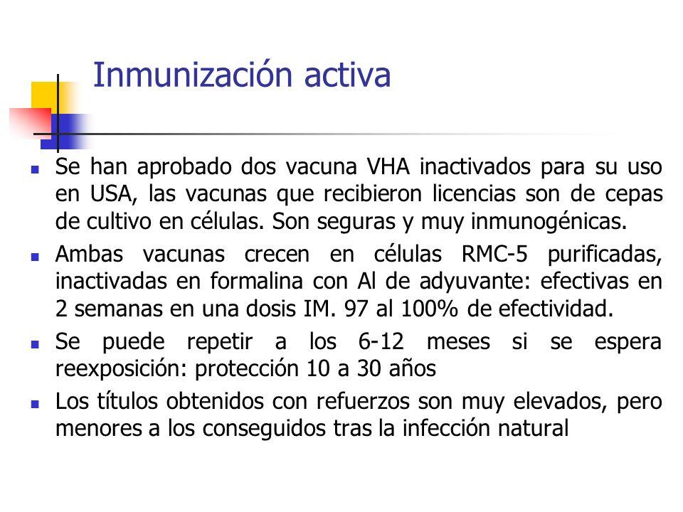 Inmunización activa Se han aprobado dos vacuna VHA inactivados para su uso en USA, las vacunas que recibieron licencias son de cepas de cultivo en cél
