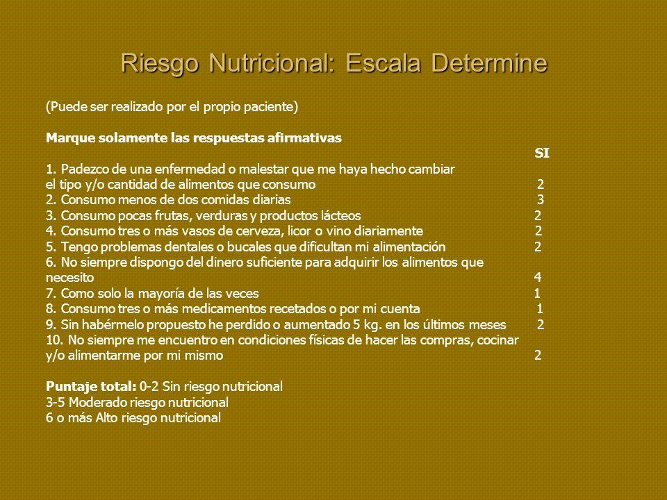 Riesgo Nutricional: Escala Determine (Puede ser realizado por el propio paciente) Marque solamente las respuestas afirmativas SI 1.