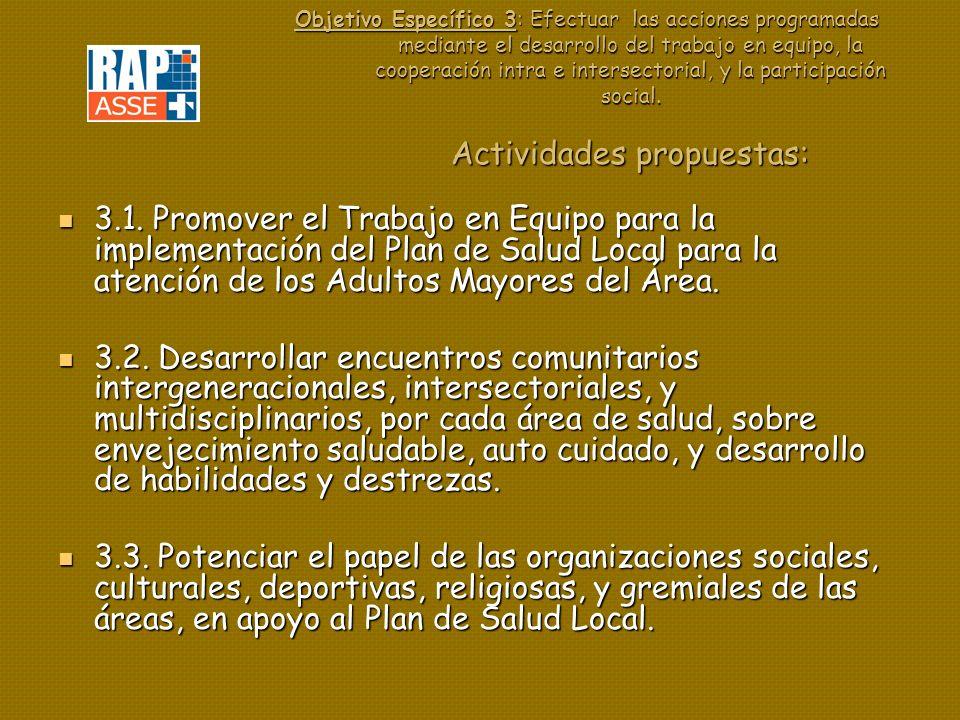 Objetivo Específico 3: Efectuar las acciones programadas mediante el desarrollo del trabajo en equipo, la cooperación intra e intersectorial, y la participación social.