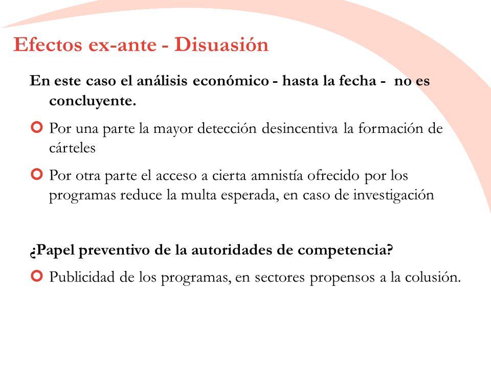 Efectos ex-ante - Disuasión En este caso el análisis económico - hasta la fecha - no es concluyente.