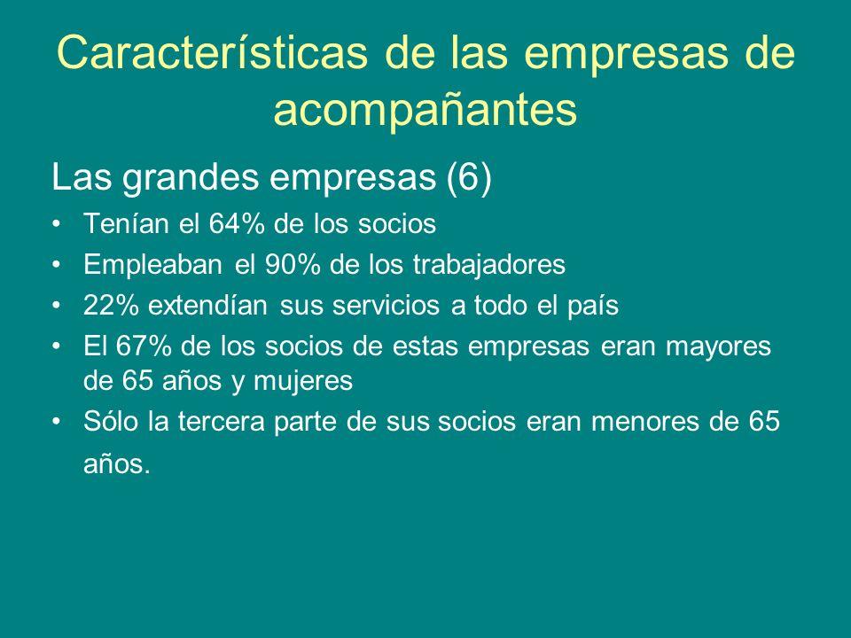 Características de las empresas de acompañantes Las grandes empresas (6) Tenían el 64% de los socios Empleaban el 90% de los trabajadores 22% extendía