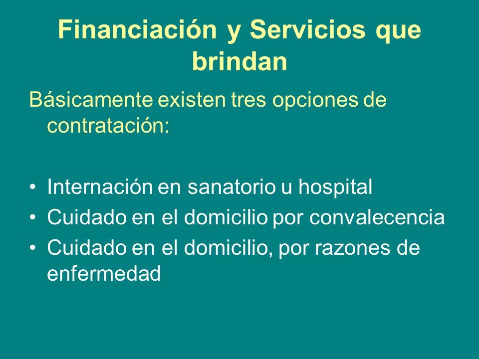 Financiación y Servicios que brindan Básicamente existen tres opciones de contratación: Internación en sanatorio u hospital Cuidado en el domicilio po
