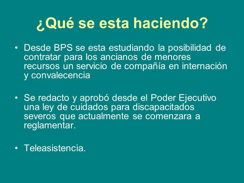 ¿Qué se esta haciendo? Desde BPS se esta estudiando la posibilidad de contratar para los ancianos de menores recursos un servicio de compañía en inter