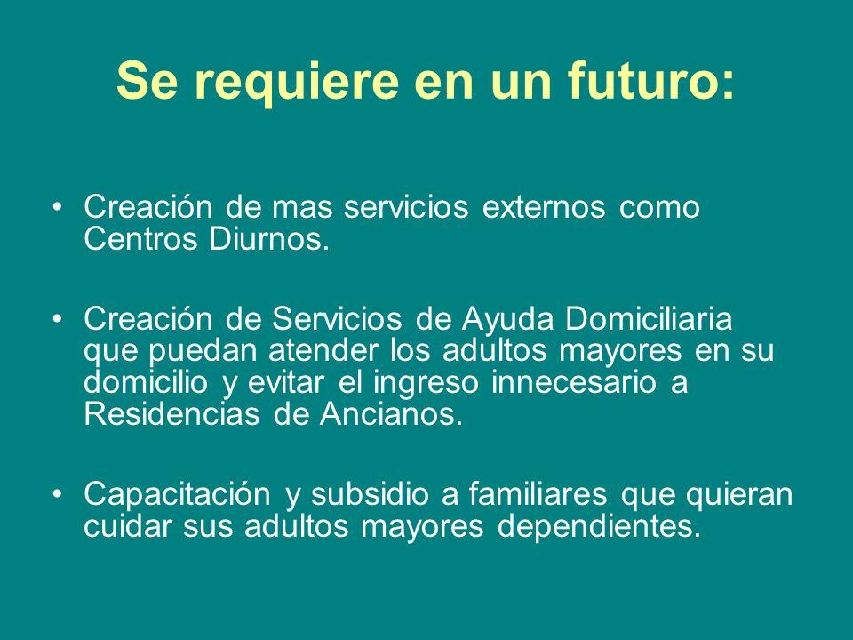 Se requiere en un futuro: Creación de mas servicios externos como Centros Diurnos. Creación de Servicios de Ayuda Domiciliaria que puedan atender los