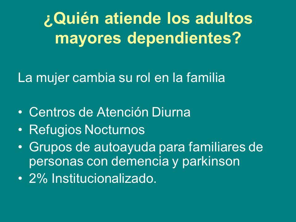 ¿Quién atiende los adultos mayores dependientes? La mujer cambia su rol en la familia Centros de Atención Diurna Refugios Nocturnos Grupos de autoayud