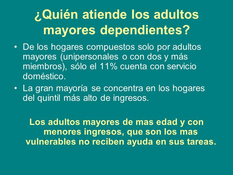 ¿Quién atiende los adultos mayores dependientes? De los hogares compuestos solo por adultos mayores (unipersonales o con dos y más miembros), sólo el