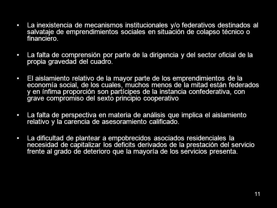 11 La inexistencia de mecanismos institucionales y/o federativos destinados al salvataje de emprendimientos sociales en situación de colapso técnico o financiero.