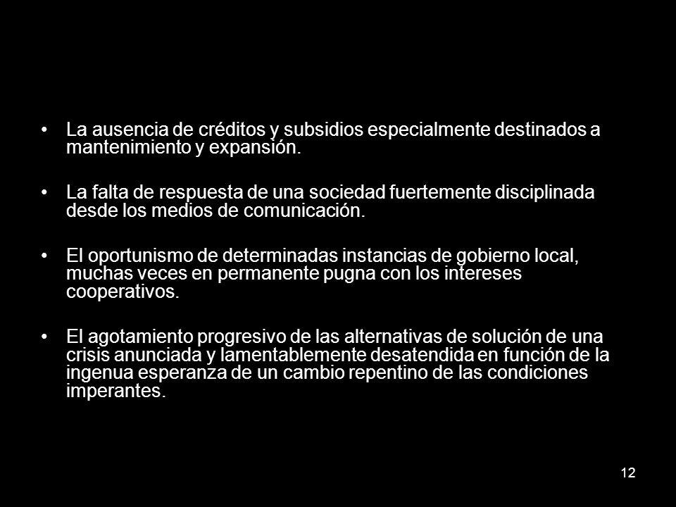 12 La ausencia de créditos y subsidios especialmente destinados a mantenimiento y expansión.