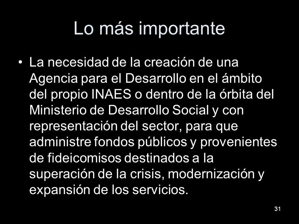 31 Lo más importante La necesidad de la creación de una Agencia para el Desarrollo en el ámbito del propio INAES o dentro de la órbita del Ministerio de Desarrollo Social y con representación del sector, para que administre fondos públicos y provenientes de fideicomisos destinados a la superación de la crisis, modernización y expansión de los servicios.