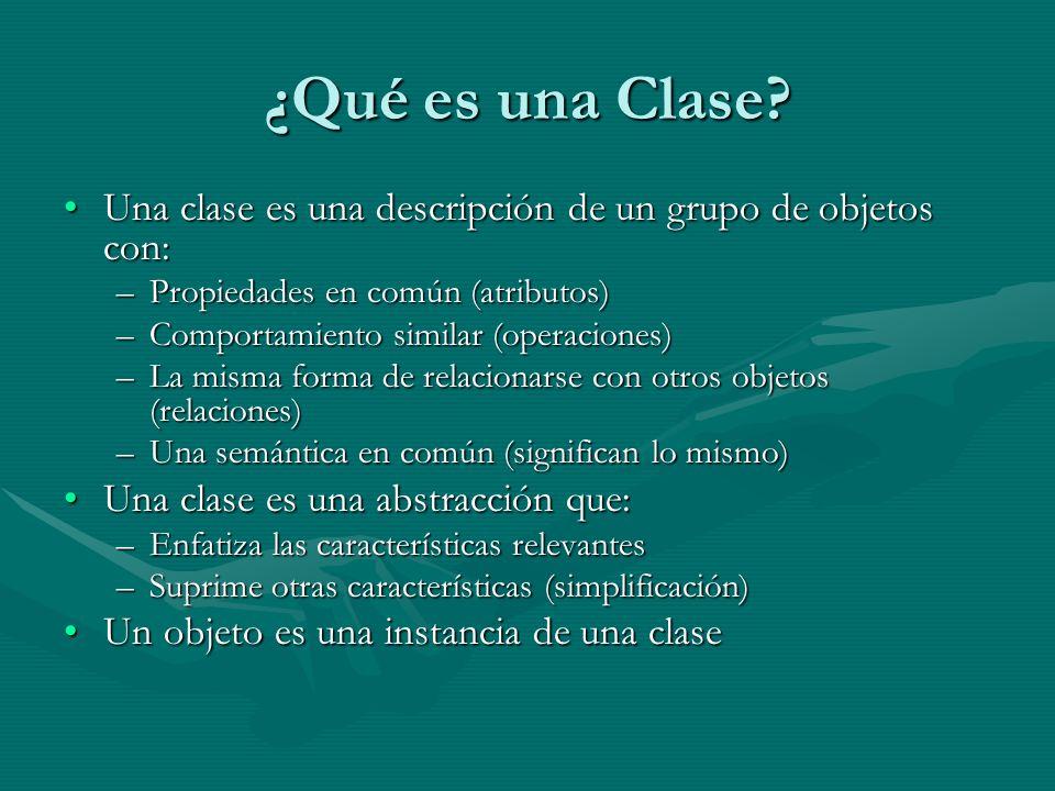 ¿Qué es una Clase? Una clase es una descripción de un grupo de objetos con:Una clase es una descripción de un grupo de objetos con: –Propiedades en co