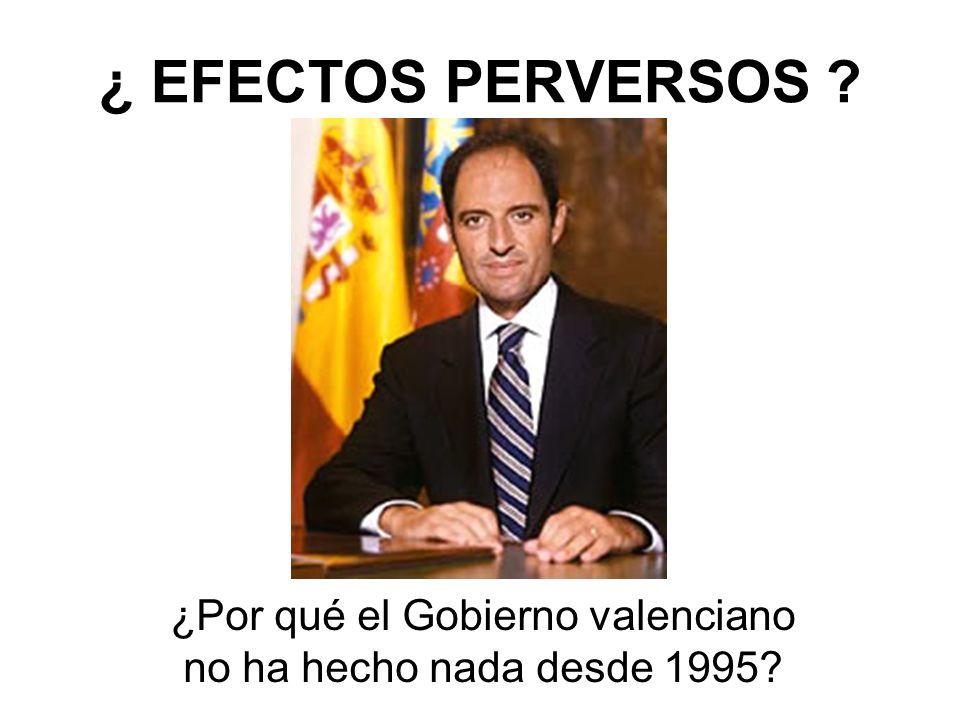 ¿ EFECTOS PERVERSOS ? ¿Por qué el Gobierno valenciano no ha hecho nada desde 1995?