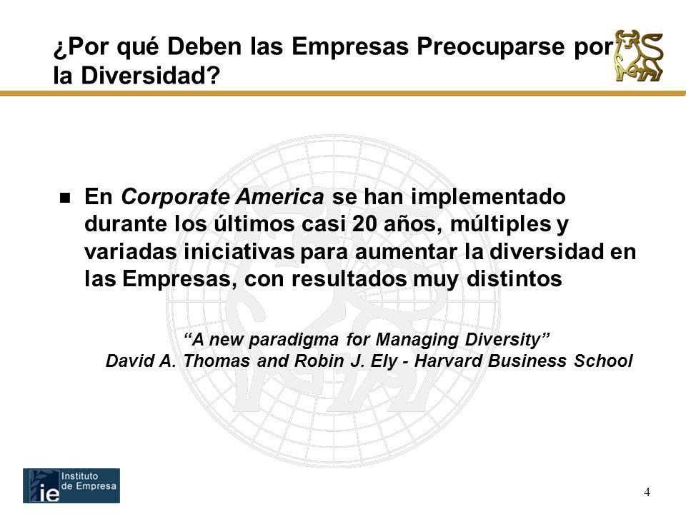 4 En Corporate America se han implementado durante los últimos casi 20 años, múltiples y variadas iniciativas para aumentar la diversidad en las Empresas, con resultados muy distintos ¿Por qué Deben las Empresas Preocuparse por la Diversidad.