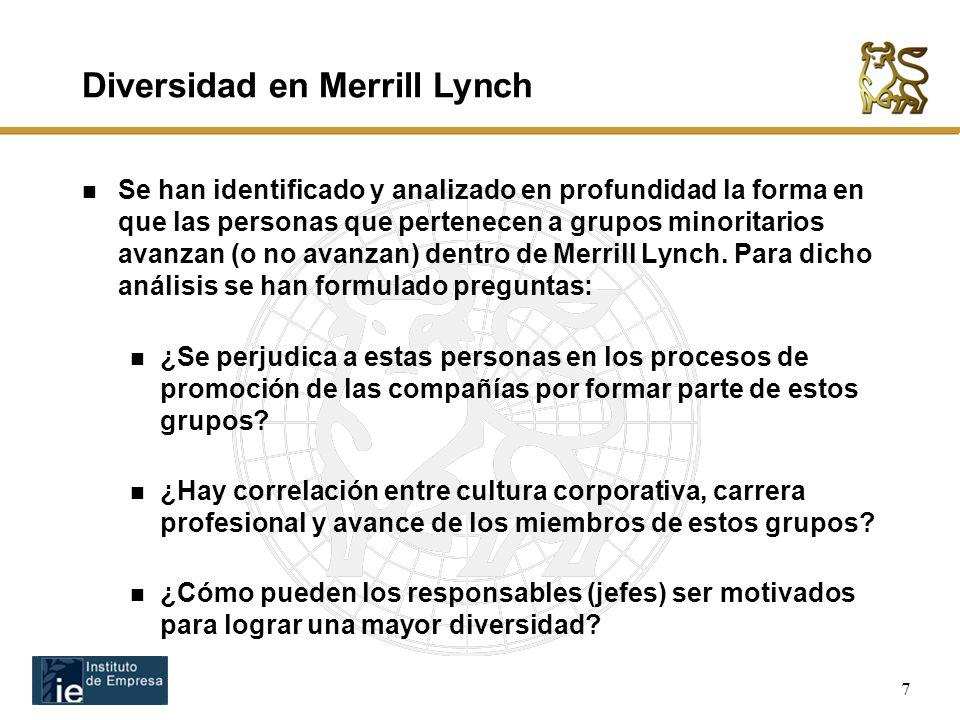 7 Se han identificado y analizado en profundidad la forma en que las personas que pertenecen a grupos minoritarios avanzan (o no avanzan) dentro de Merrill Lynch.