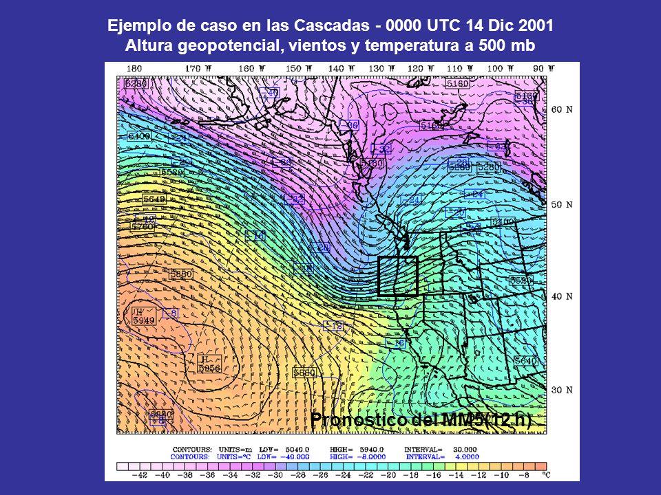 Ejemplo de caso en las Cascadas - 0000 UTC 14 Dic 2001 Altura geopotencial, vientos y temperatura a 500 mb Pronostico del MM5(12 h)