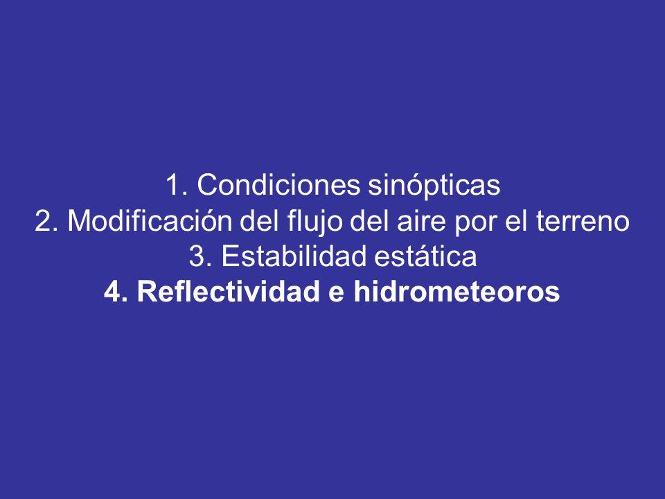 1. Condiciones sinópticas 2. Modificación del flujo del aire por el terreno 3. Estabilidad estática 4. Reflectividad e hidrometeoros