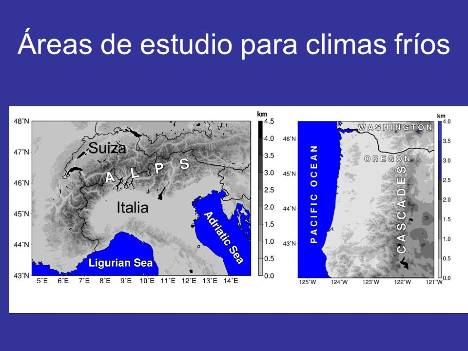 Sistemas intensos en los Alpes donde se recolectaron observaciones continuas (IOP, Intensive Observing Periods) Dirección de los cortes verticales