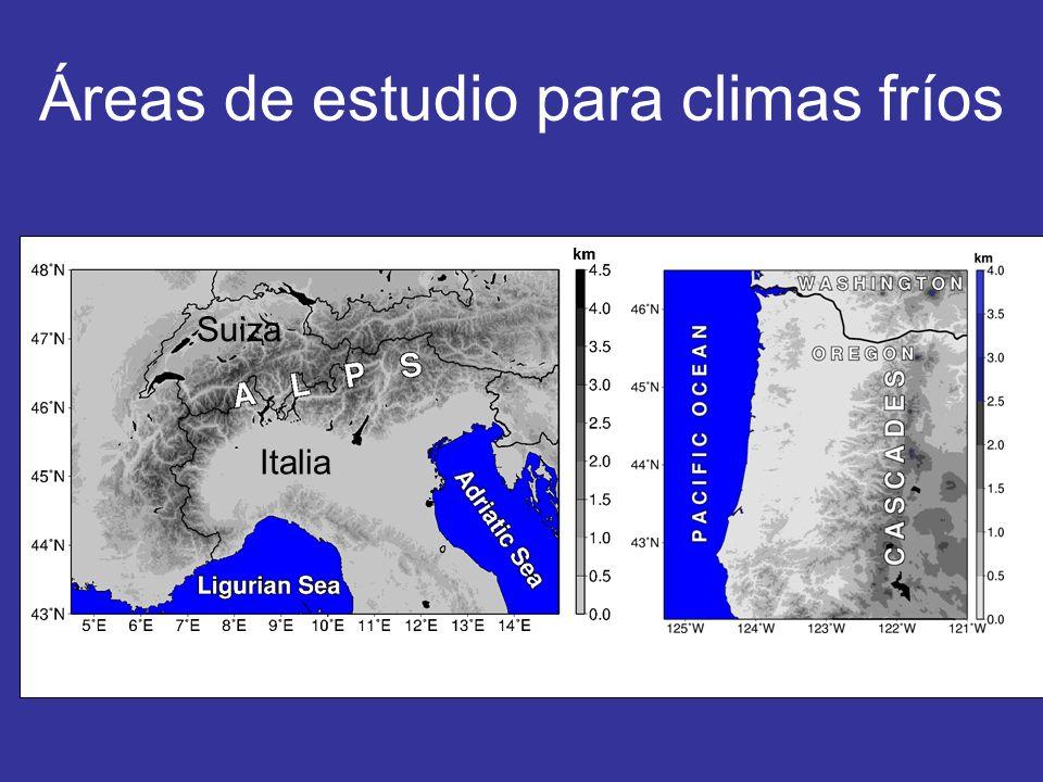 Áreas de estudio para climas fríos Italia Suiza