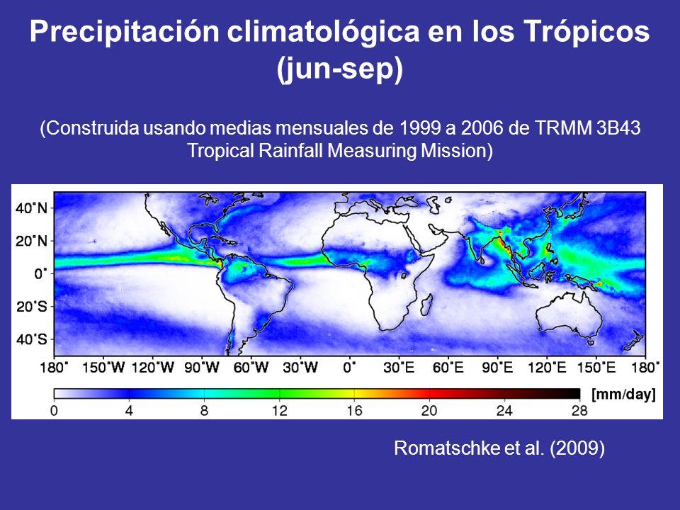 Romatschke et al. (2009) Precipitación climatológica en los Trópicos (jun-sep) (Construida usando medias mensuales de 1999 a 2006 de TRMM 3B43 Tropica