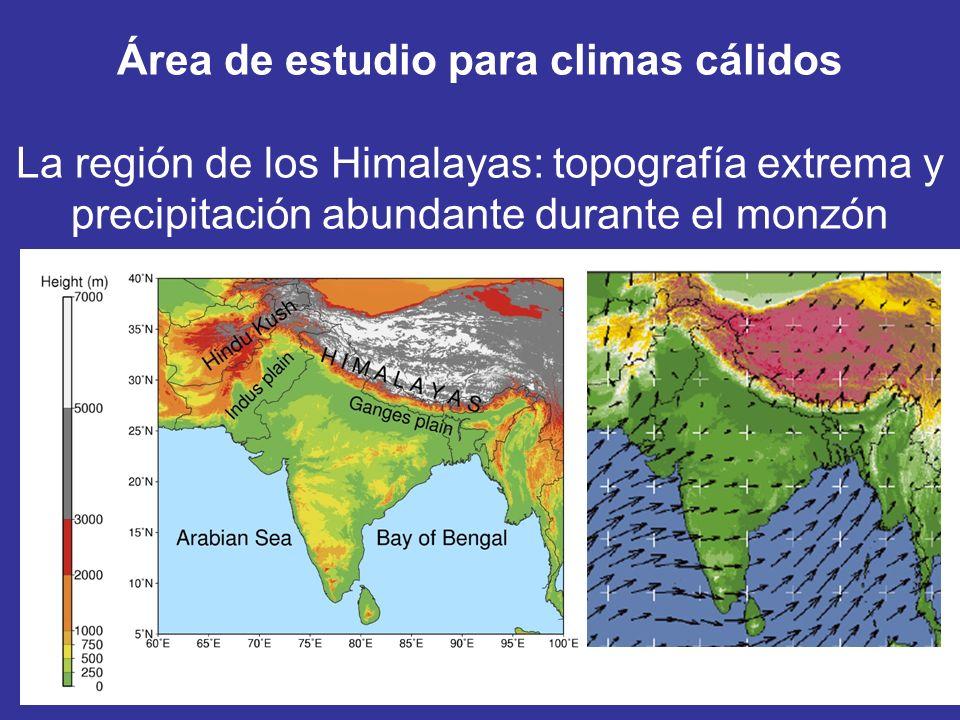 Área de estudio para climas cálidos La región de los Himalayas: topografía extrema y precipitación abundante durante el monzón
