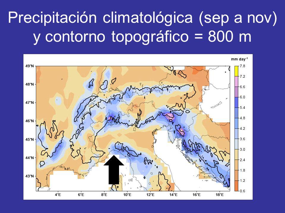 Precipitación climatológica (sep a nov) y contorno topográfico = 800 m
