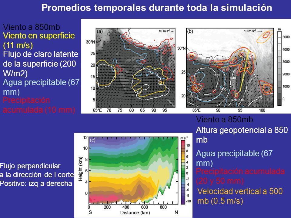 Promedios temporales durante toda la simulación Flujo perpendicular a la dirección de l corte. Positivo: izq a derecha Viento a 850mb Viento en superf
