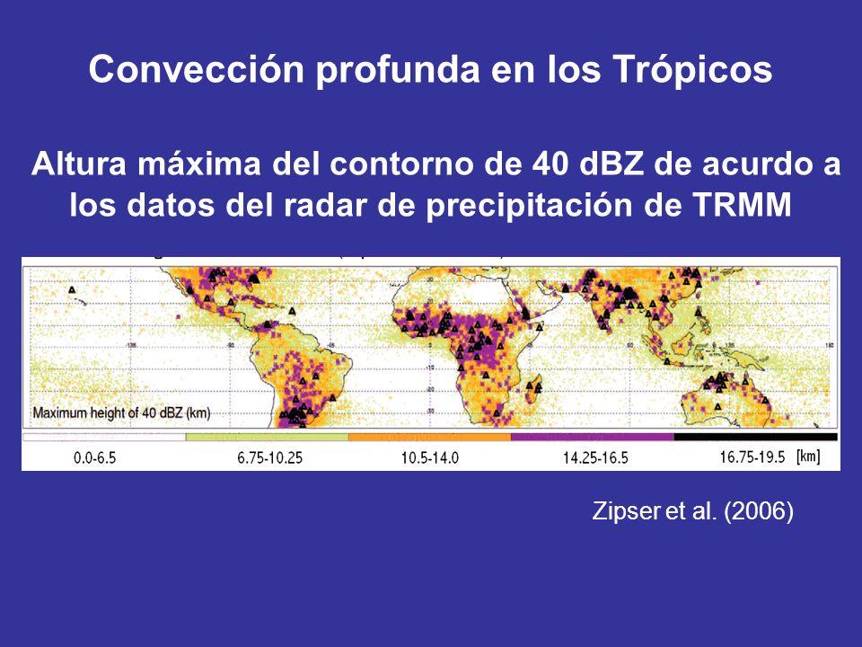 Convección profunda en los Trópicos Altura máxima del contorno de 40 dBZ de acurdo a los datos del radar de precipitación de TRMM Zipser et al. (2006)
