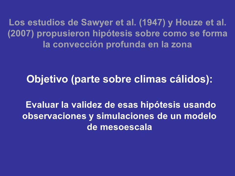 Objetivo (parte sobre climas cálidos): Evaluar la validez de esas hipótesis usando observaciones y simulaciones de un modelo de mesoescala Los estudios de Sawyer et al.