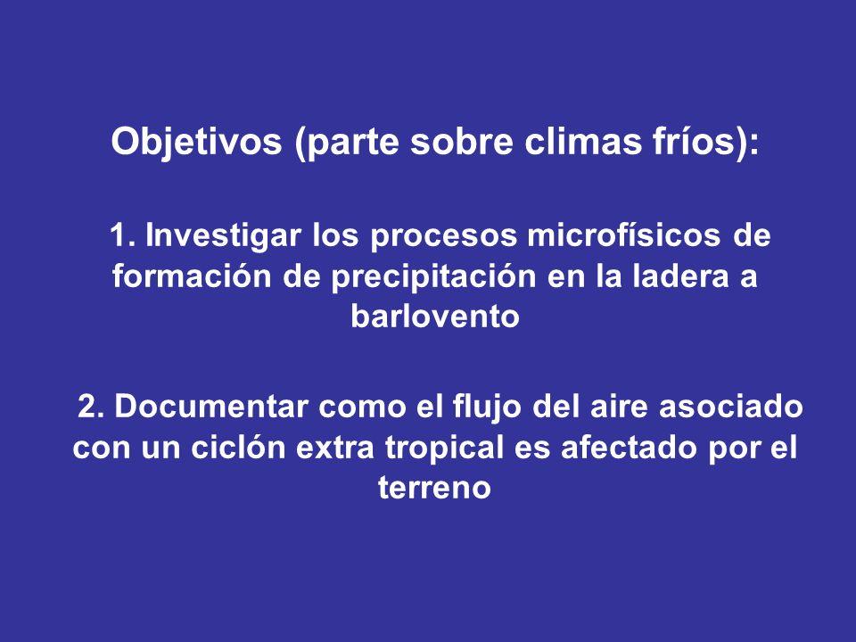 Objetivos (parte sobre climas fríos): 1. Investigar los procesos microfísicos de formación de precipitación en la ladera a barlovento 2. Documentar co