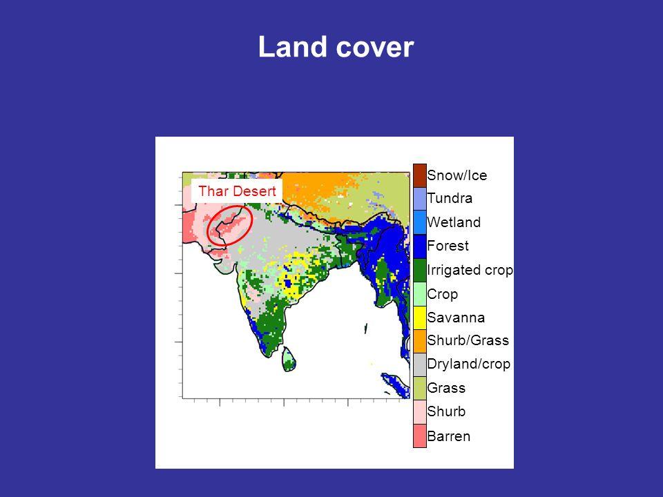 Land cover Snow/Ice Tundra Wetland Forest Irrigated crop Crop Savanna Shurb/Grass Dryland/crop Grass Shurb Barren Thar Desert