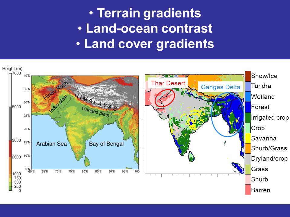 Terrain gradients Land-ocean contrast Land cover gradients Snow/Ice Tundra Wetland Forest Irrigated crop Crop Savanna Shurb/Grass Dryland/crop Grass Shurb Barren Thar Desert Ganges Delta