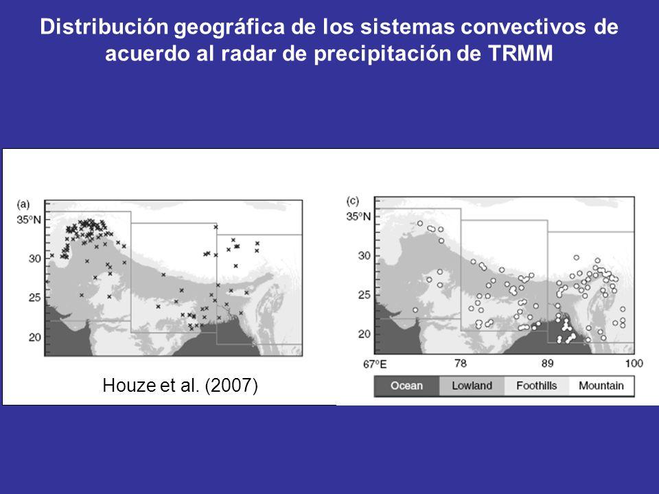 Houze et al. (2007) Distribución geográfica de los sistemas convectivos de acuerdo al radar de precipitación de TRMM