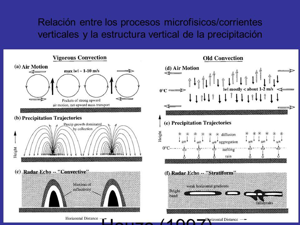 Relación entre los procesos microfisicos/corrientes verticales y la estructura vertical de la precipitación Houze (1997)