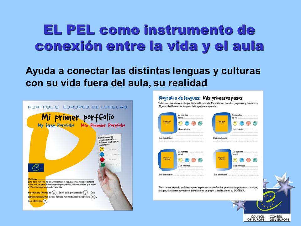 EL PEL como instrumento de conexión entre la vida y el aula Ayuda a conectar las distintas lenguas y culturas con su vida fuera del aula, su realidad