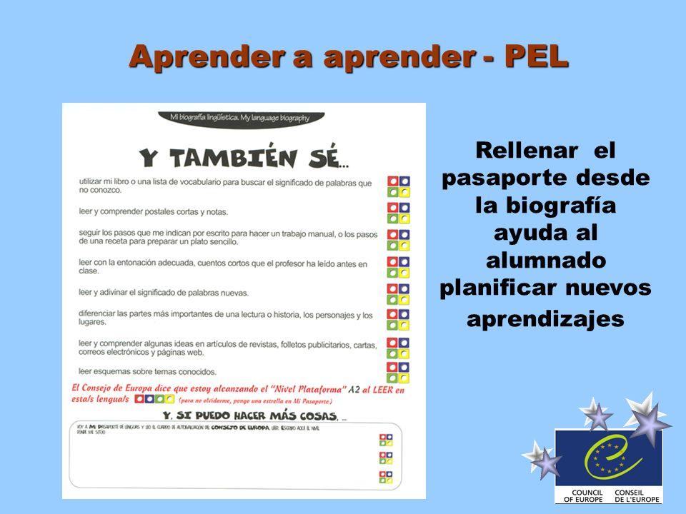Aprender a aprender - PEL Rellenar el pasaporte desde la biografía ayuda al alumnado planificar nuevos aprendizajes