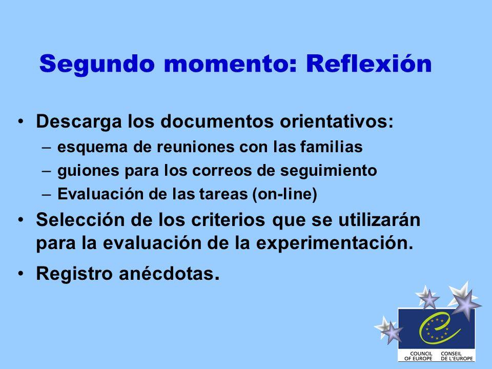 Segundo momento: Reflexión Descarga los documentos orientativos: –esquema de reuniones con las familias –guiones para los correos de seguimiento –Eval
