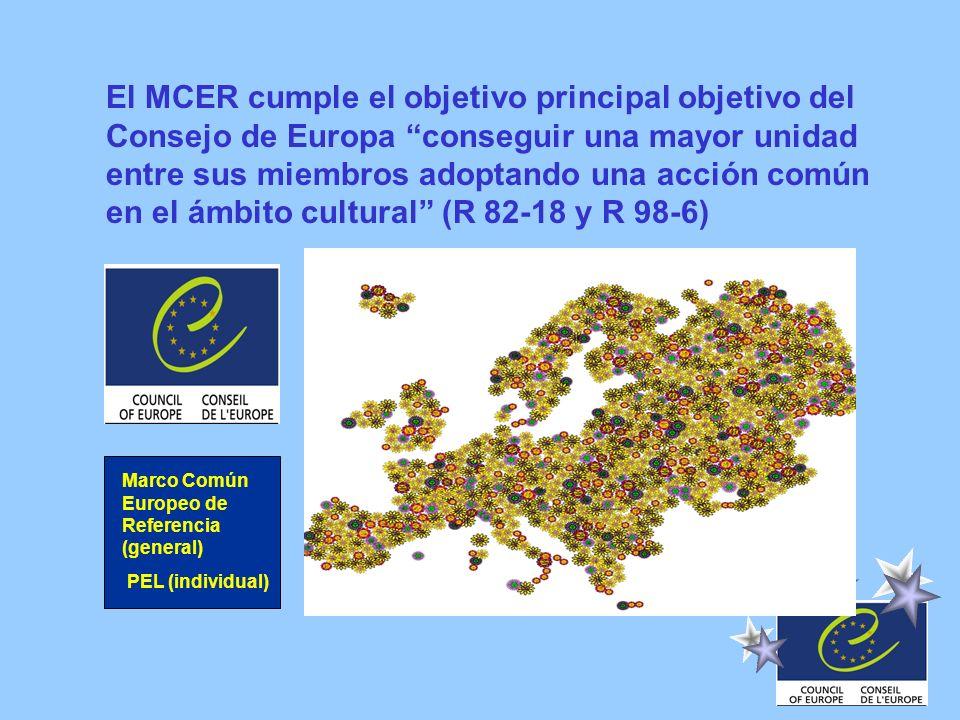 Marco Común Europeo de Referencia (general) PEL (individual) El MCER cumple el objetivo principal objetivo del Consejo de Europa conseguir una mayor u