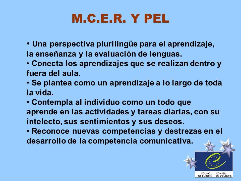 M.C.E.R. Y PEL Una perspectiva plurilingüe para el aprendizaje, la enseñanza y la evaluación de lenguas. Conecta los aprendizajes que se realizan dent