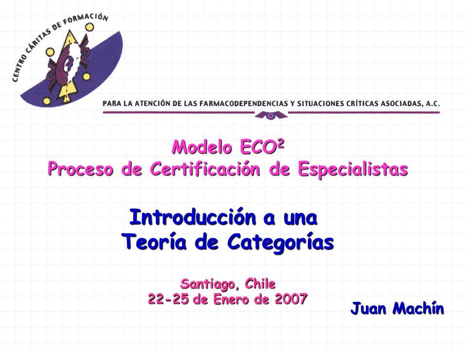 Modelo ECO 2 Proceso de Certificación de Especialistas Introducción a una Teoría de Categorías Santiago, Chile 22-25 de Enero de 2007 Juan Machín