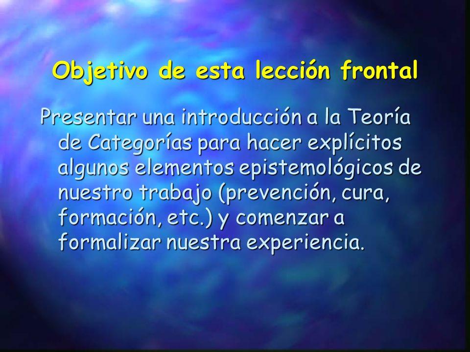 Presentar una introducción a la Teoría de Categorías para hacer explícitos algunos elementos epistemológicos de nuestro trabajo (prevención, cura, for