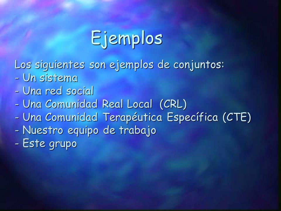 Ejemplos Los siguientes son ejemplos de conjuntos: - Un sistema - Una red social - Una Comunidad Real Local (CRL) - Una Comunidad Terapéutica Específi