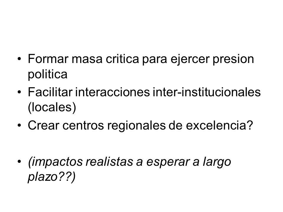 Formar masa critica para ejercer presion politica Facilitar interacciones inter-institucionales (locales) Crear centros regionales de excelencia.