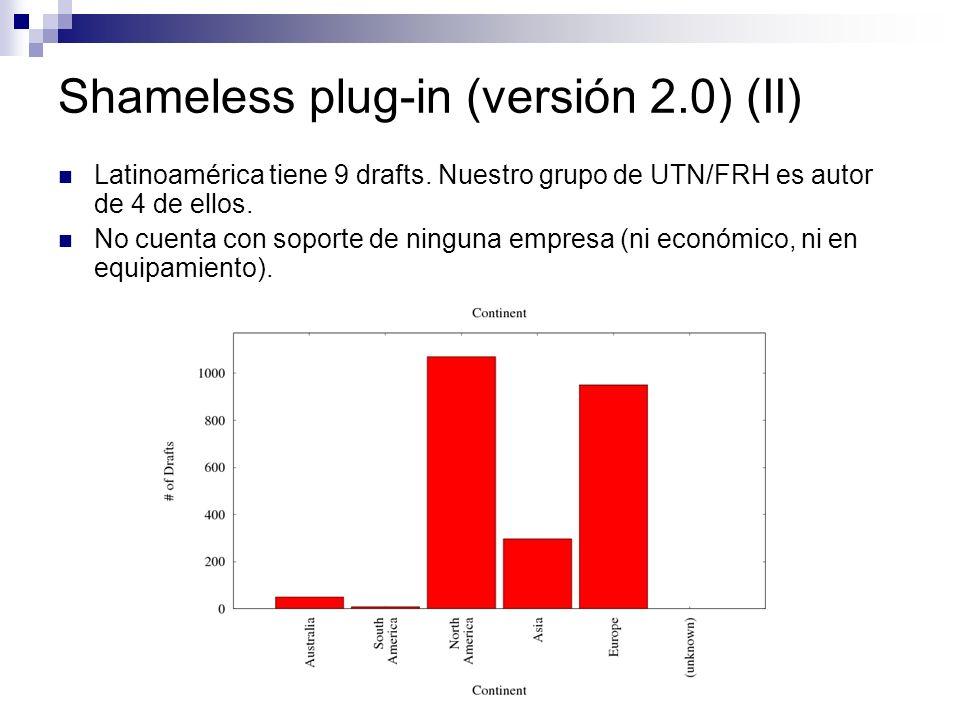 Shameless plug-in (versión 2.0) (II) Latinoamérica tiene 9 drafts. Nuestro grupo de UTN/FRH es autor de 4 de ellos. No cuenta con soporte de ninguna e