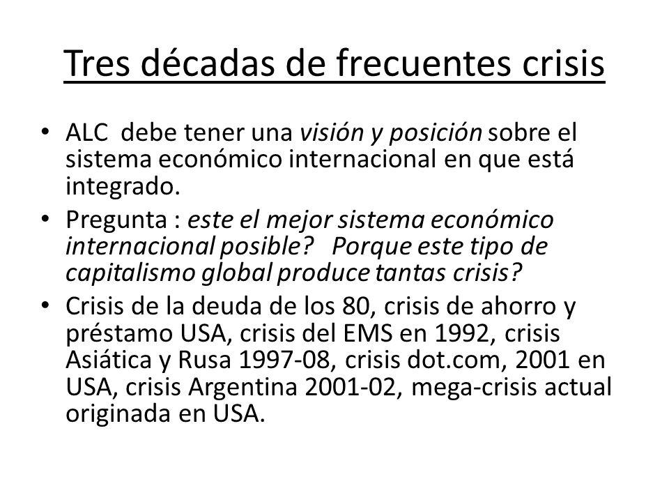 Crisis Financieras en perspectiva hist Ó rica Alta frecuencia de crisis con el sistema post- Bretton Woods (post 1971, globalización actual).