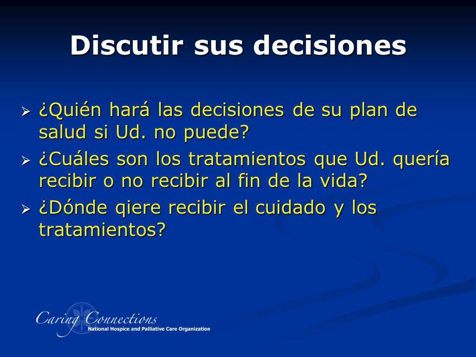 Discutir sus decisiones ¿Quién hará las decisiones de su plan de salud si Ud. no puede? ¿Quién hará las decisiones de su plan de salud si Ud. no puede