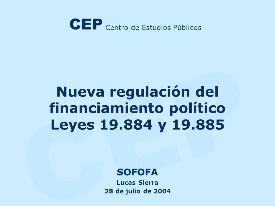 CEP Nueva regulación del financiamiento político Leyes 19.884 y 19.885 SOFOFA Lucas Sierra 28 de julio de 2004 Centro de Estudios Públicos CEP