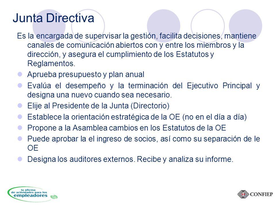 Junta Directiva Es la encargada de supervisar la gestión, facilita decisiones, mantiene canales de comunicación abiertos con y entre los miembros y la dirección, y asegura el cumplimiento de los Estatutos y Reglamentos.
