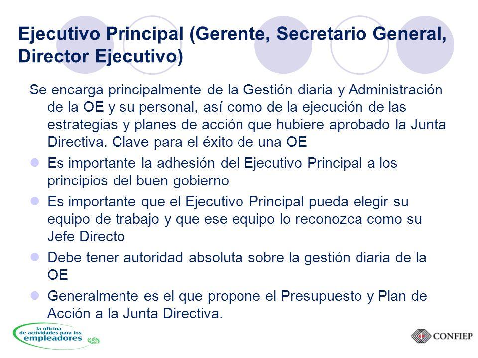 Ejecutivo Principal (Gerente, Secretario General, Director Ejecutivo) Se encarga principalmente de la Gestión diaria y Administración de la OE y su personal, así como de la ejecución de las estrategias y planes de acción que hubiere aprobado la Junta Directiva.