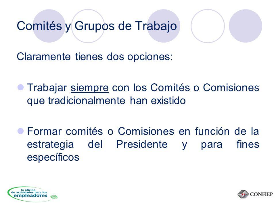Comités y Grupos de Trabajo Claramente tienes dos opciones: Trabajar siempre con los Comités o Comisiones que tradicionalmente han existido Formar comités o Comisiones en función de la estrategia del Presidente y para fines específicos