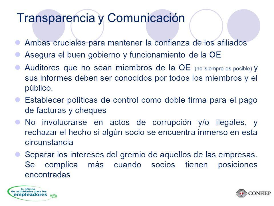 Transparencia y Comunicación Ambas cruciales para mantener la confianza de los afiliados Asegura el buen gobierno y funcionamiento de la OE Auditores que no sean miembros de la OE (no siempre es posible) y sus informes deben ser conocidos por todos los miembros y el público.