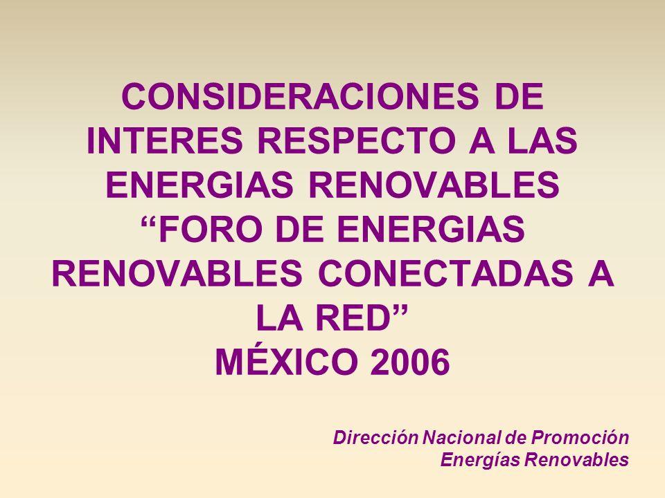CONSIDERACIONES DE INTERES RESPECTO A LAS ENERGIAS RENOVABLES FORO DE ENERGIAS RENOVABLES CONECTADAS A LA RED MÉXICO 2006 Dirección Nacional de Promoc